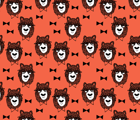 Bowtie Bear - Coral/White/Black fabric by andrea_lauren on Spoonflower - custom fabric