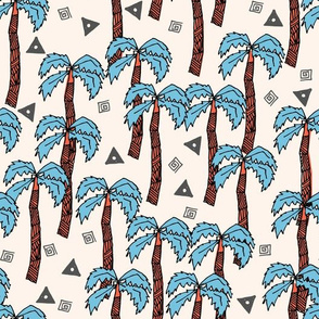Tropical Palms - Soft Blue/Coral by Andrea Lauren