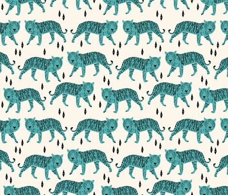 Tigers - Cream/Tiffany Blue fabric by andrea_lauren on Spoonflower - custom fabric