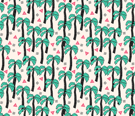 palm trees // palms palm print palm tree tropical pink and green cute summer exotic print fabric by andrea_lauren on Spoonflower - custom fabric