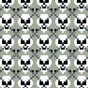 Pixel Ghost Skull Argyle Mini