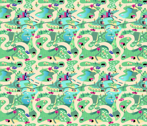 Countryside Drive Blue Green fabric by vinpauld on Spoonflower - custom fabric