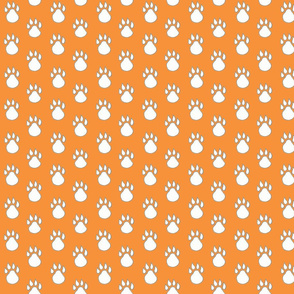 Orange with blue paw print