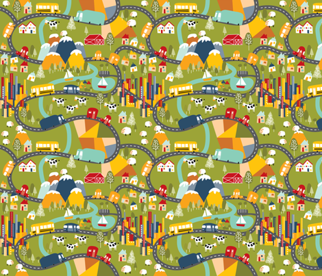 Life is a highway fabric by laura_the_drawer on Spoonflower - custom fabric