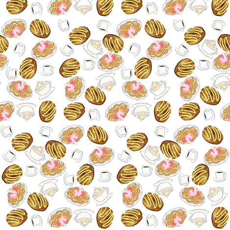Coffee, Danish and Waffles fabric by artytypes on Spoonflower - custom fabric