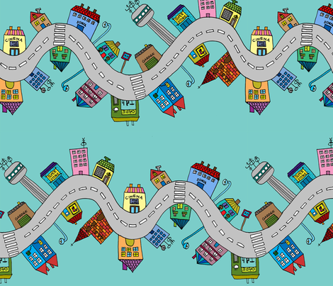 Driving through fabric by szwedo on Spoonflower - custom fabric