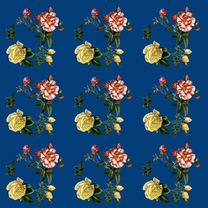Yellow and Pink Roses On blue background