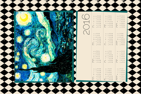 Starry Night Calendar 2016 Van Gogh, Tea Towel Size Fat Quarter, Cream & Black Harlequin Diamond  fabric by bohobear on Spoonflower - custom fabric