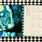 Starry Night Calendar 2016 Van Gogh, Tea Towel Size Fat Quarter, Cream & Black Harlequin Diamond