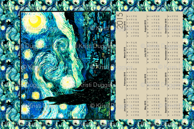 Starry Night Calendar 2015 Van Gogh, Tea Towel Size Fat Quarter