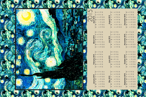 Starry Night Calendar 2015 Van Gogh, Tea Towel Size Fat Quarter fabric by bohobear on Spoonflower - custom fabric