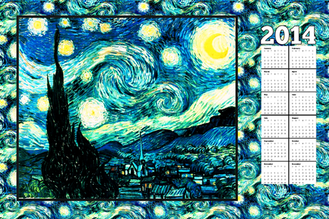 Starry Night Calendar (2014) Van Gogh, Tea Towel Size Fat Quarter fabric by bohobear on Spoonflower - custom fabric