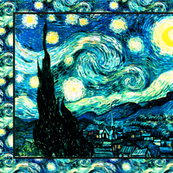 Starry Night Calendar (2014) Van Gogh, Tea Towel Size Fat Quarter