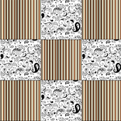 Orange Stripes Black White Paisley Cheater Quilt Patchwork  Blocks