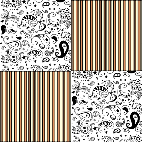 Orange Stripes Black White Paisley Cheater Quilt Patchwork  Blocks fabric by bohobear on Spoonflower - custom fabric