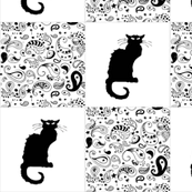 Black and White Paisley Le Chat Noir Cat Patchwork Cheater Quilt Blocks
