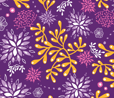 Gold and purple seaweed fabric by oksancia on Spoonflower - custom fabric