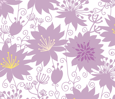 Purple shadow florals fabric by oksancia on Spoonflower - custom fabric