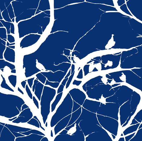 Even Fashion Vultures Get The Blues fabric by peacoquettedesigns on Spoonflower - custom fabric