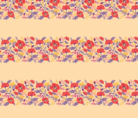 Red poppies matching horizontal border fabric by oksancia on Spoonflower - custom fabric