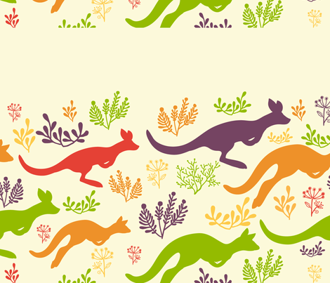 Jumping kangaroos matching border fabric by oksancia on Spoonflower - custom fabric