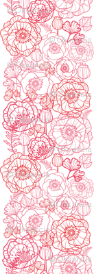 Poppies line art matching border