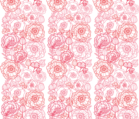 Poppies line art matching border fabric by oksancia on Spoonflower - custom fabric