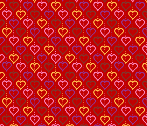 Heart Chain - Red fabric by siya on Spoonflower - custom fabric