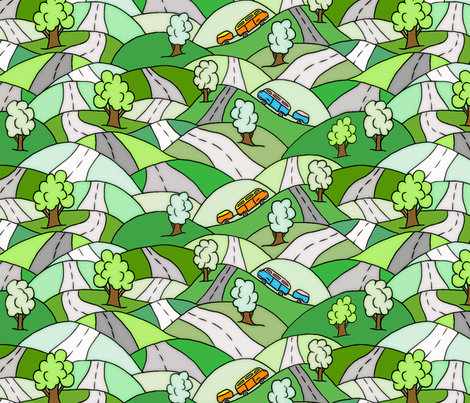 Dancing roads fabric by fantazya on Spoonflower - custom fabric