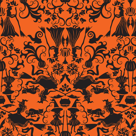 Halloween Witch Damask- Orange fabric by mag-o on Spoonflower - custom fabric