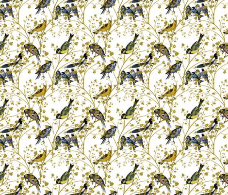 Georgian Birds on White fabric by glanoramay on Spoonflower - custom fabric