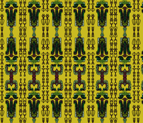TRIBAL LIFE_in yellow fabric by miurio_decor on Spoonflower - custom fabric