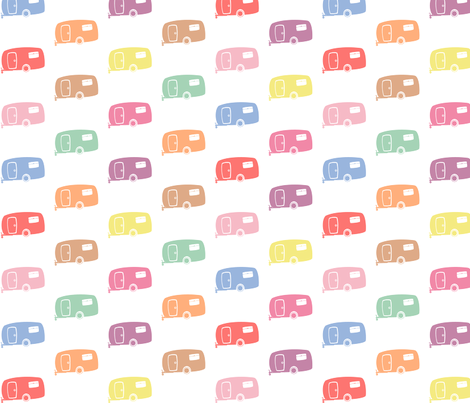 Pastel Retro RVs / Campers / Caravans fabric by pininkie on Spoonflower - custom fabric