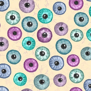 Ditsy Eyes (cream,pink,blue,green)