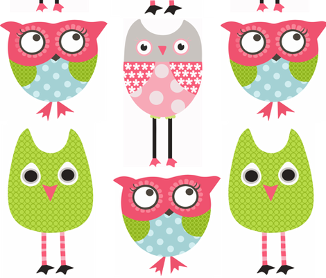 Whimsy Owls with Grey fabric by natitys on Spoonflower - custom fabric