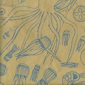 underwater creatures (screenprint)