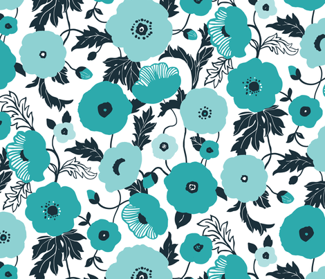 Poppy field fabric by chulabird on Spoonflower - custom fabric