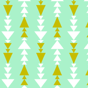 Mint with gold and white triangles