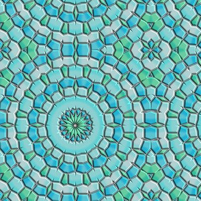 Blue Geen Circular Flower Mosaic © Gingezel™ 2014