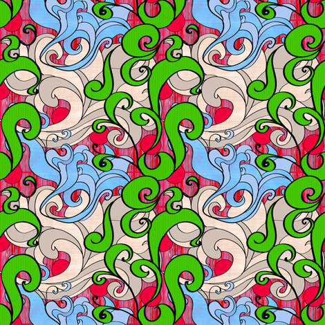 Retro Inspired Floral fabric by smart_cats on Spoonflower - custom fabric