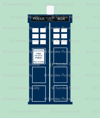 tardis blue police box on light blue