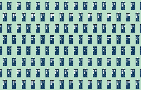 tardis blue police box on light blue fabric by sandeeroyalty on Spoonflower - custom fabric