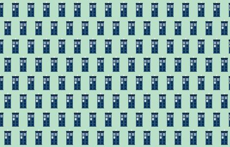 tardis blue police box on light blue fabric by sandeeroyalty on Spoonflower - custom fabric