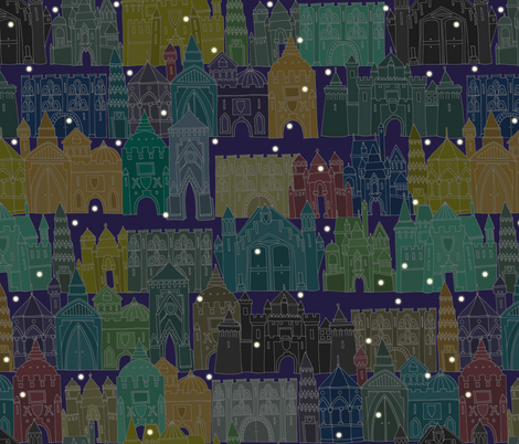 castle avenue night (larger) fabric by scrummy on Spoonflower - custom fabric
