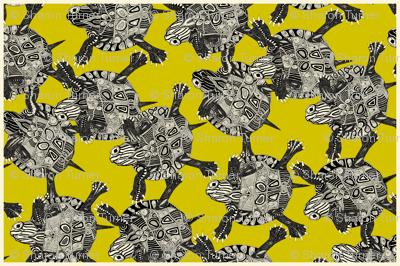 turtle party citron tea towel
