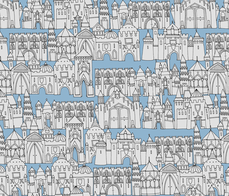 castle avenue day blue (larger) fabric by scrummy on Spoonflower - custom fabric