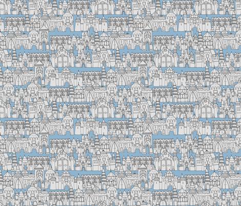 castle avenue day blue fabric by scrummy on Spoonflower - custom fabric