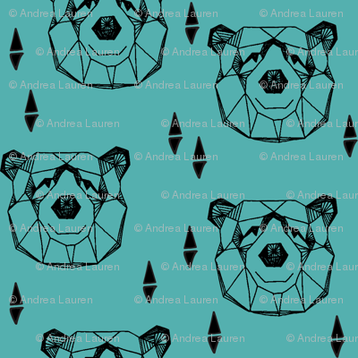 Geometric Bear Head - Tiffany Blue