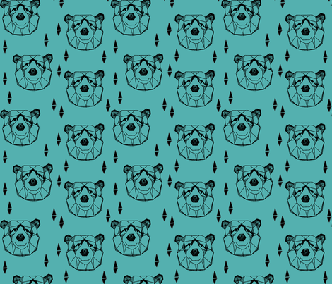 Geometric Bear Head - Tiffany Blue fabric by andrea_lauren on Spoonflower - custom fabric