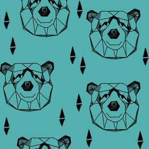 Geometric Bear Head - Tiffany Blue